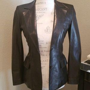 Gucci Black Lamb Leather Blazer Size 4